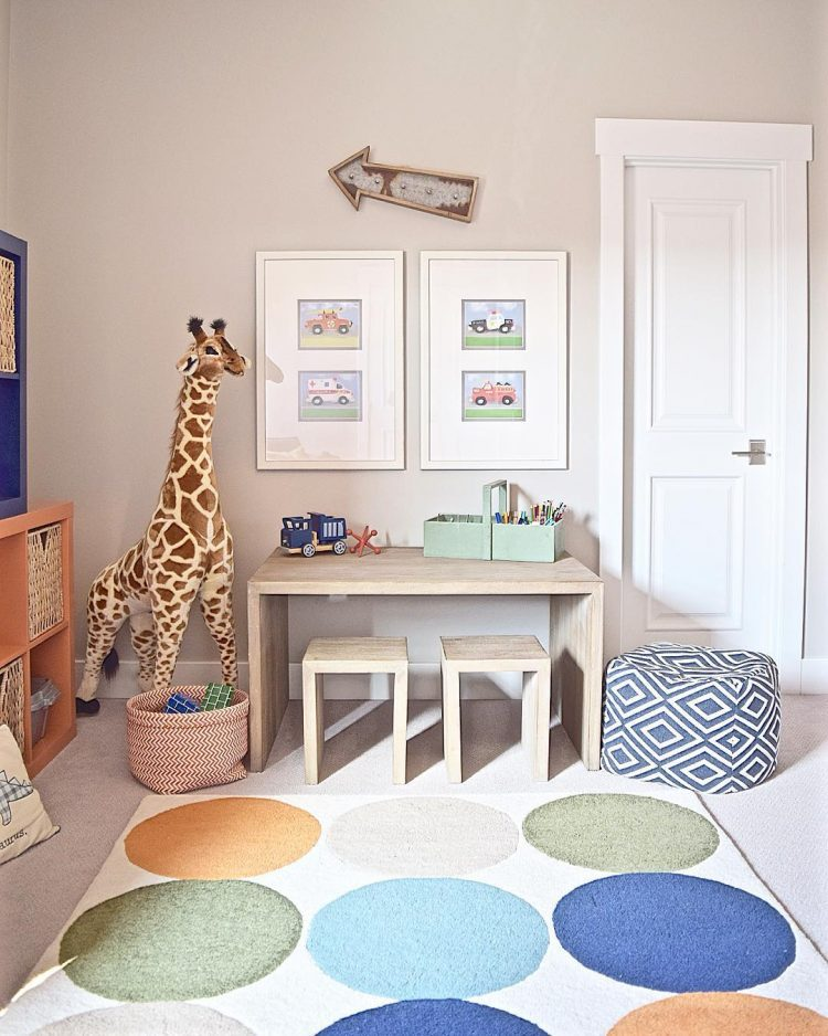 colorful circle rug for kids room + Tips for layering rugs