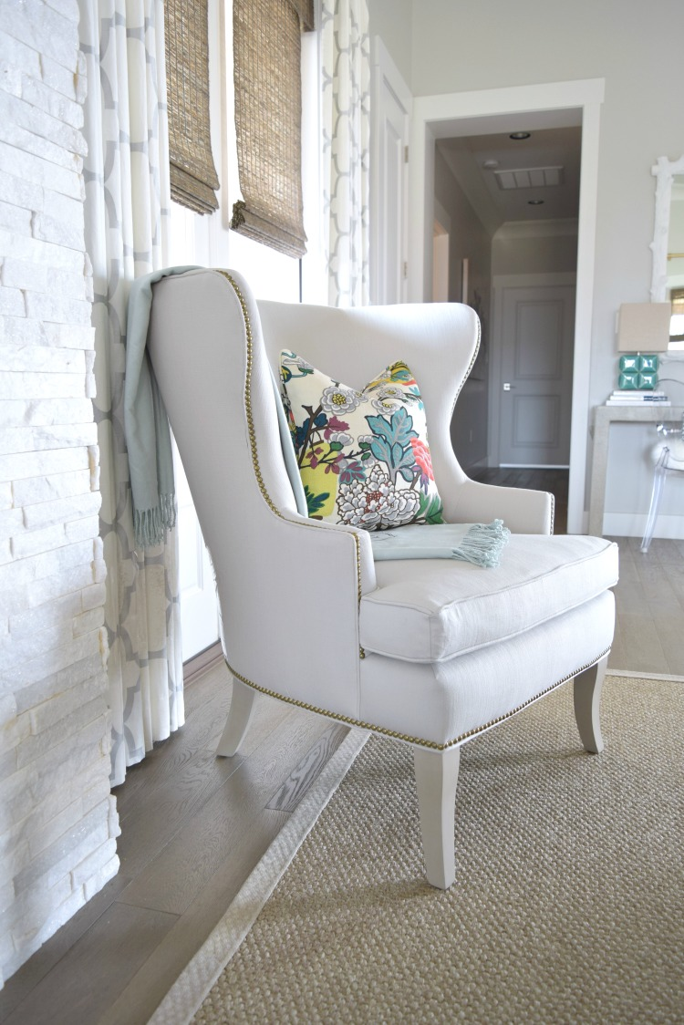 Living Room Ballard Thurston Wing Chair Chia Mang Dragon fabric