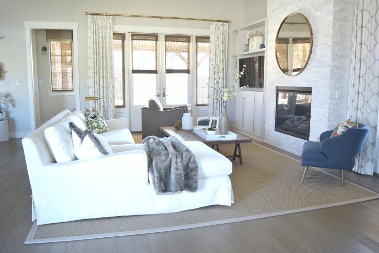 Living room kravet riad drapes restoration hardware slope arm couch