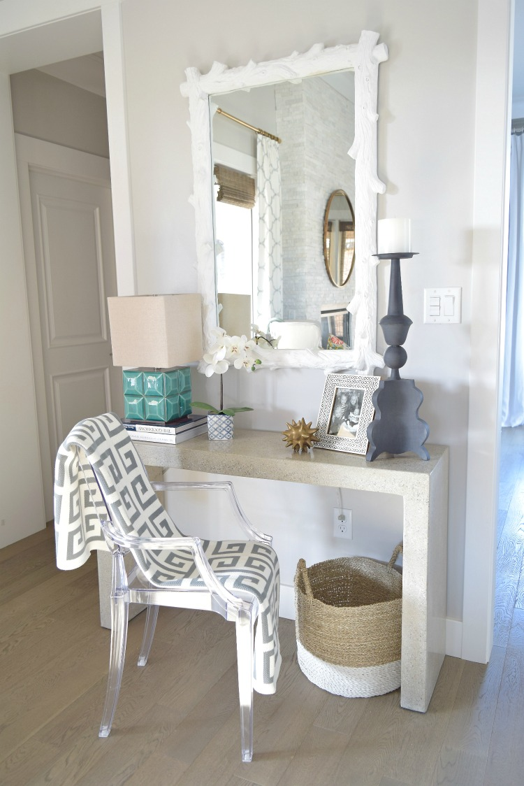 Console table styling white wood mirror ghost chair greek key throw entry table