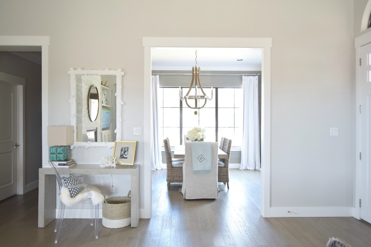 Entry Console Table Styling Dining Restoration Hardware Room Wine Barrel Chandelier