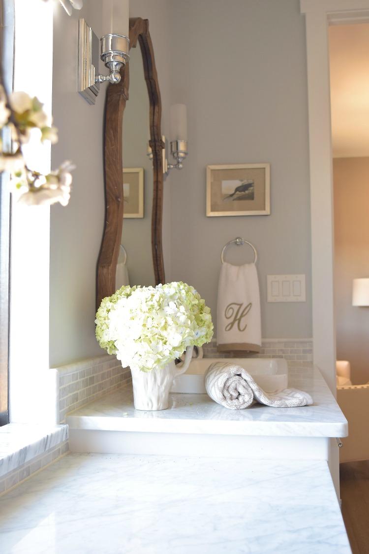 hydrangeas white bathroom cararra marble