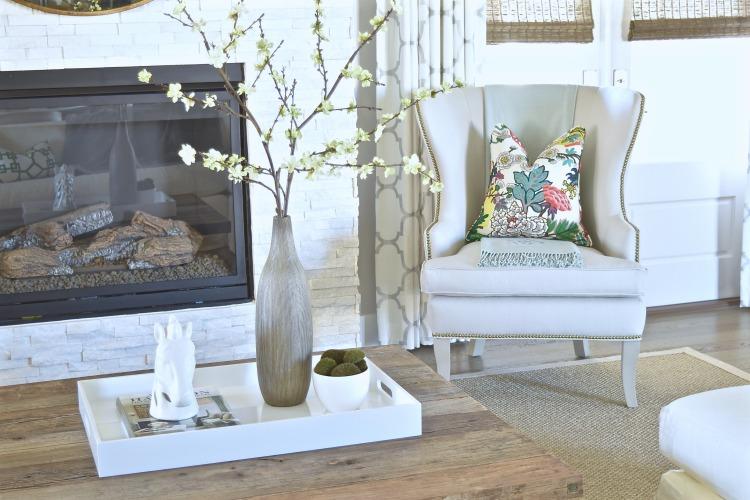 kravet riad drapery fabric ballard thurston wing chair coffee table styling white tray