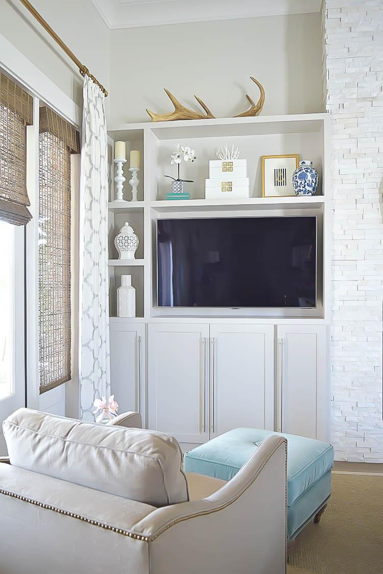 shelf styling gray cabinets