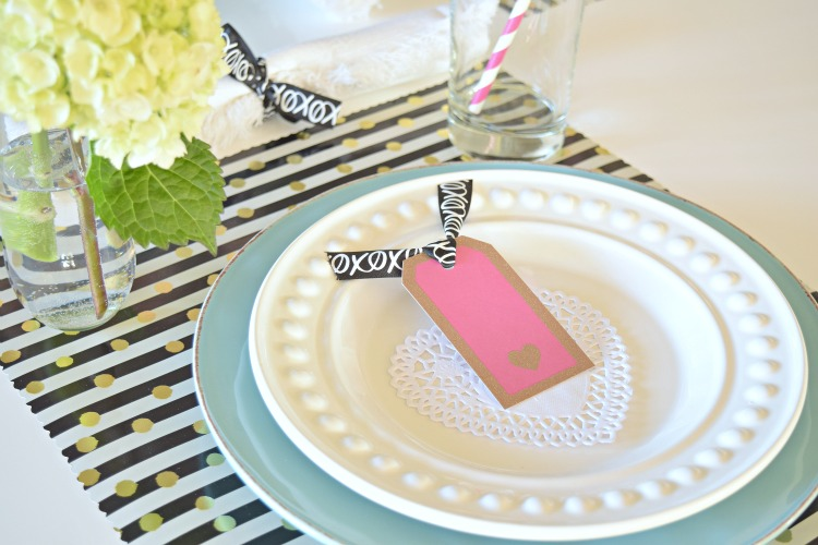 valentines place card ribbon diy placemat