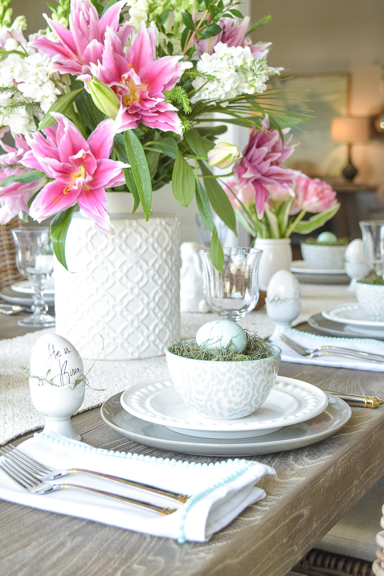 Easter lillies table dishes flowers tablescape bunnies happy easter egg holder nests5