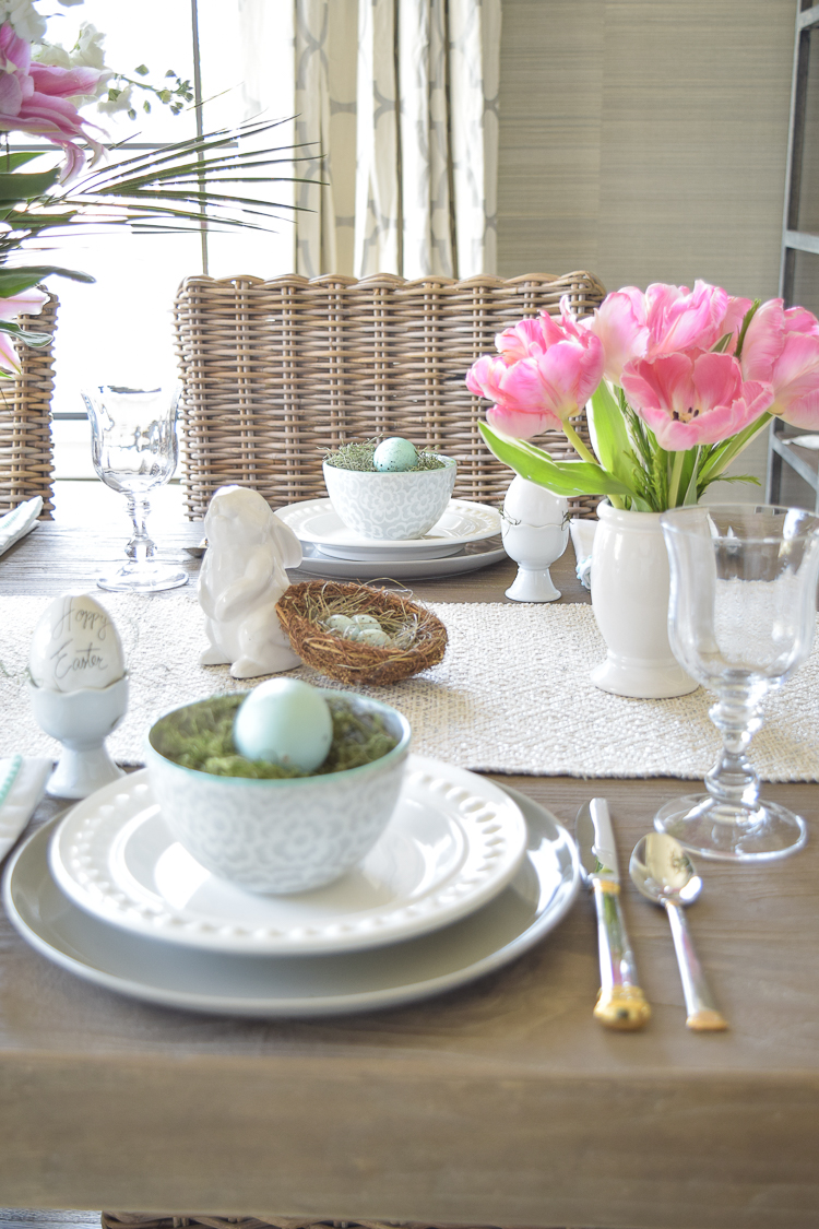 Easter lillies table dishes flowers tablescape bunnies happy easter egg holder nests6