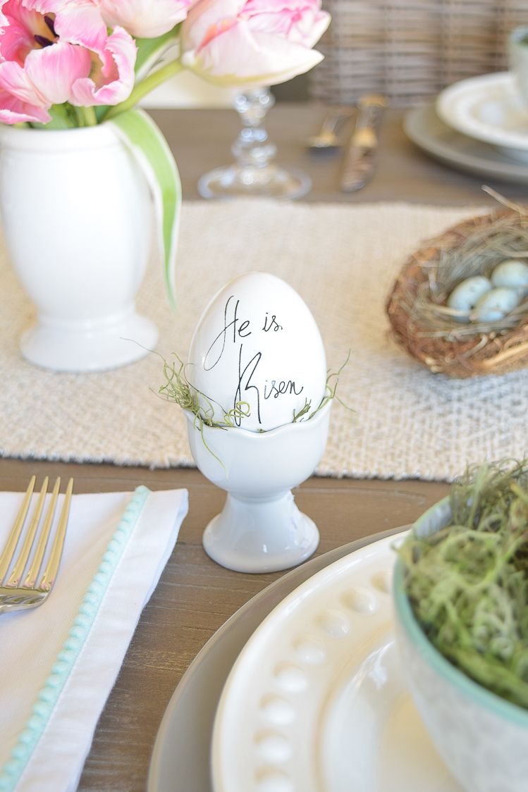 Easter table bunnies dishes flowers tablescape egg holder He Is Risen egg