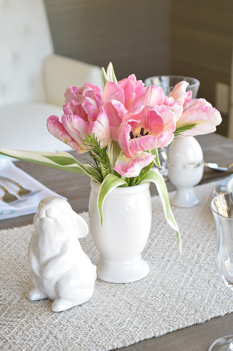 Easter table bunnies dishes flowers tablescape2