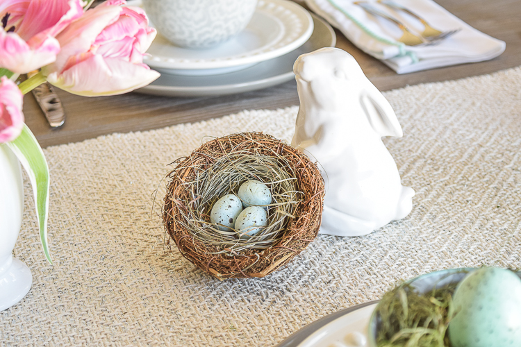 Easter table dishes flowers tablescape bunnies egg holder3