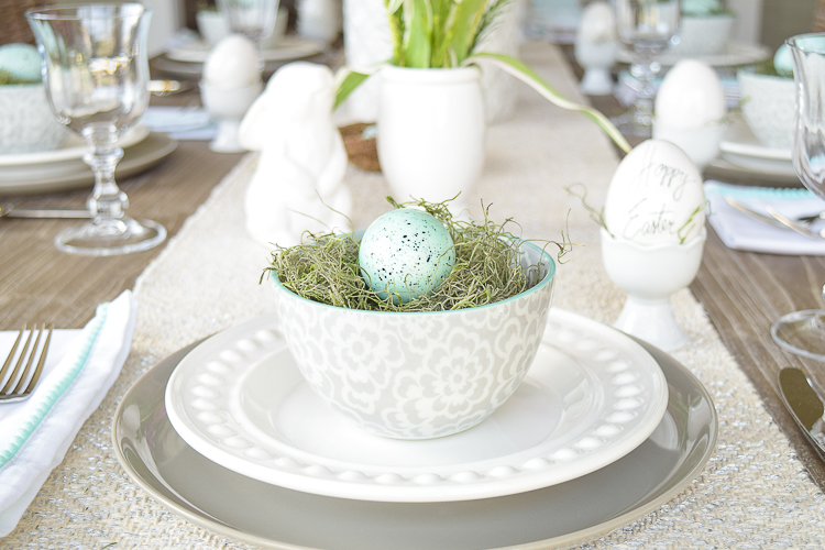 Easter table dishes flowers tablescape bunnies happy easter egg holder nests3