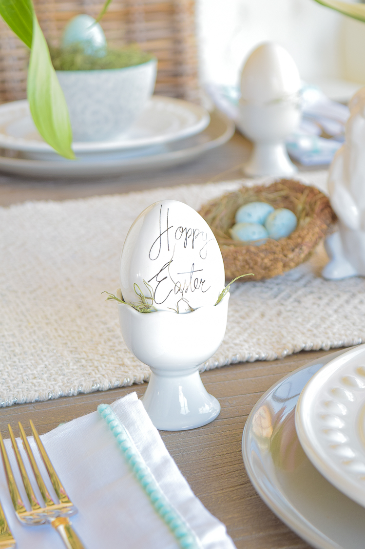 Easter table dishes flowers tablescape bunnies happy easter egg holder
