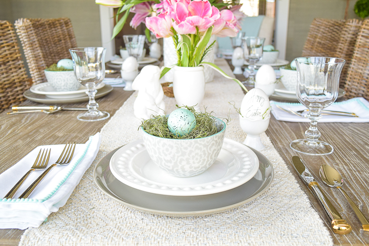 Easter table dishes flowers tablescape bunnies happy easter egg holder2