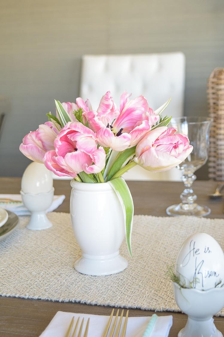 Easter table dishes flowers tablescape egg holder He is risen egg