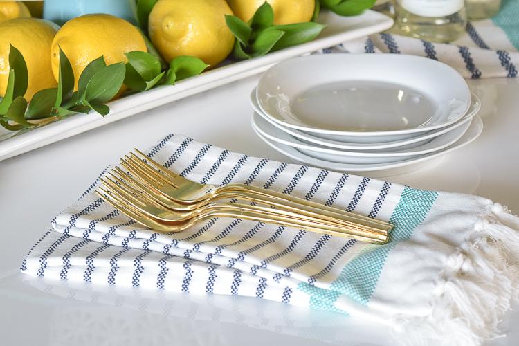 White vase spring summer dishes aqua cake stand forsythia yellow flower bush brunch lemons table scape center piece_-12