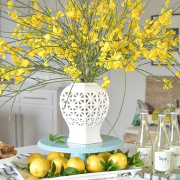 white vase spring brunch forsythia stems