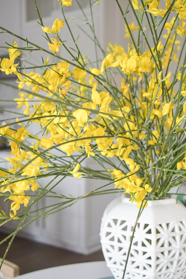 White vase spring summer dishes aqua cake stand forsythia yellow flower bush brunch lemons table scape center piece_-16