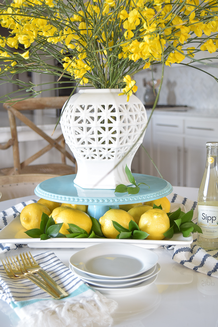 filigree vase table scape lemons brunch