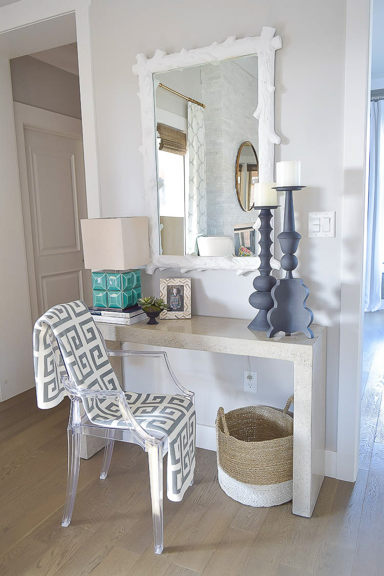 console styling ghost chair white wood mirror greek key throw5