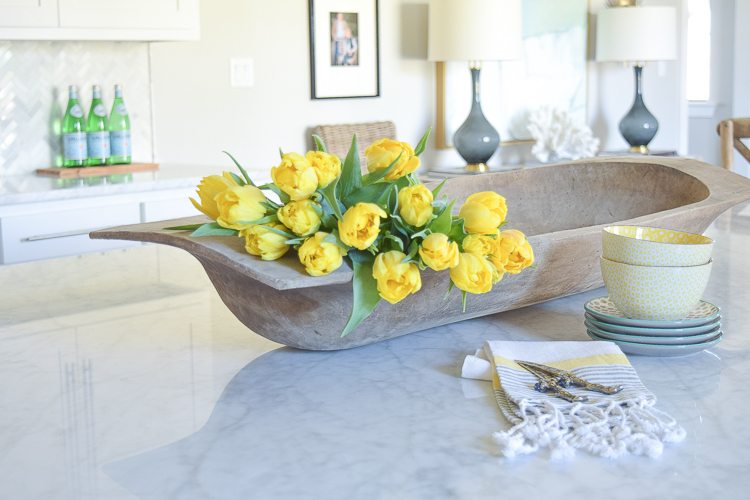ZDesign At Home Spring Tour yellow tulips white kitchen