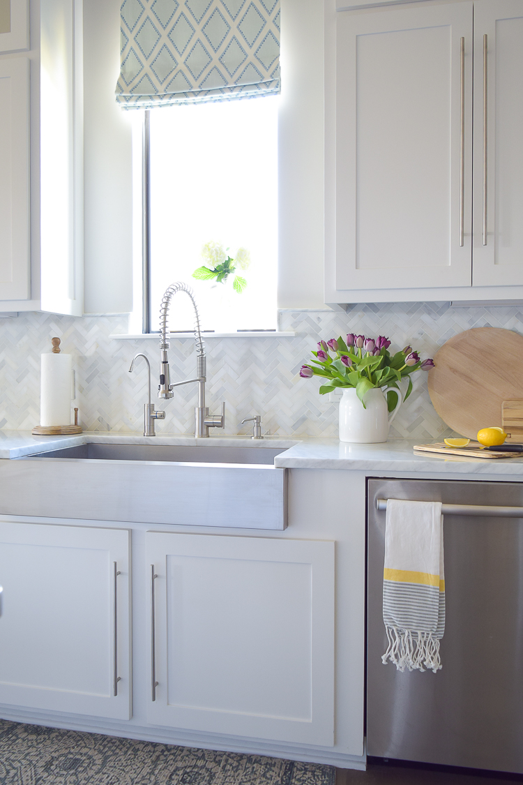 Carrara Marble Herringbone Backsplash Kitchen