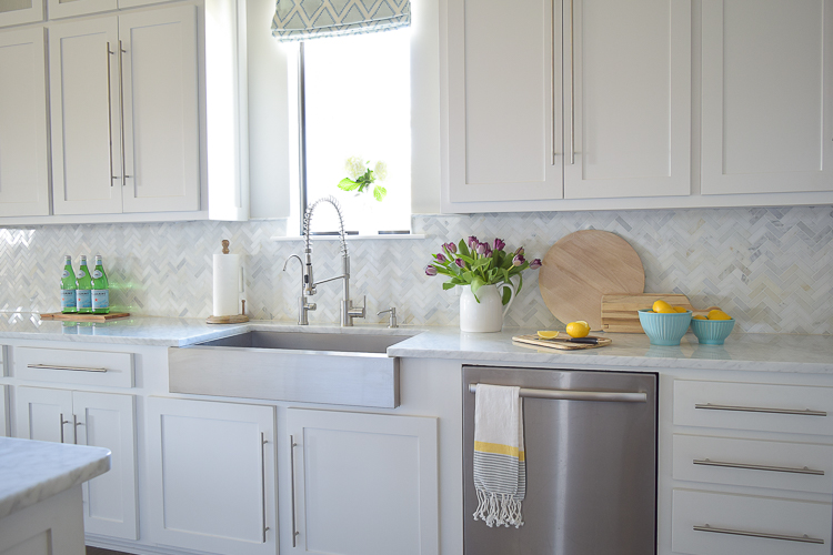 carrara marble white herringbone backsplash-1