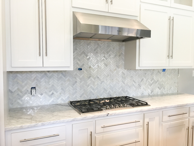 Carrara Marble White Herringbone Backsplash 6