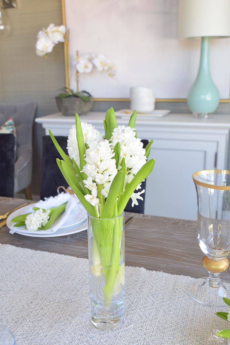 casual elegant mothers day table scape hyacinth alstromeria pink peonies-1