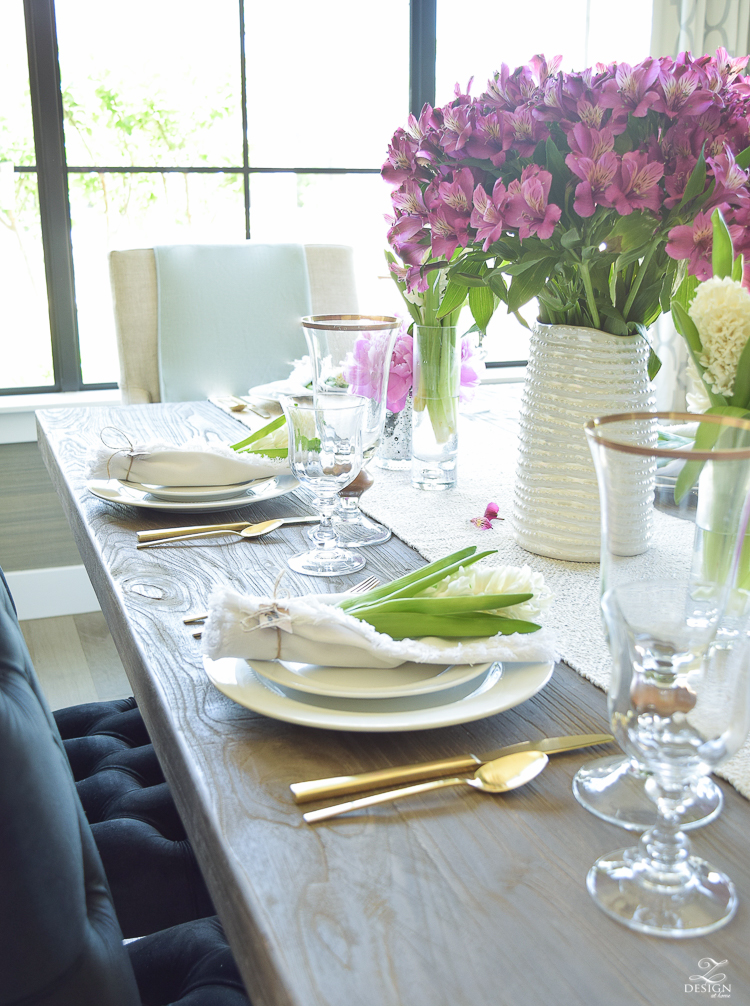 casual elegant mothers day table scape hyacinth alstromeria pink peonies-12
