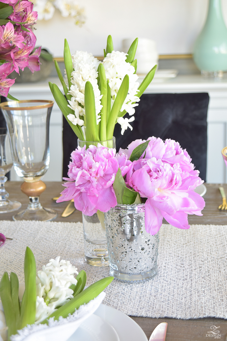 casual elegant mothers day table scape hyacinth alstromeria pink peonies-13
