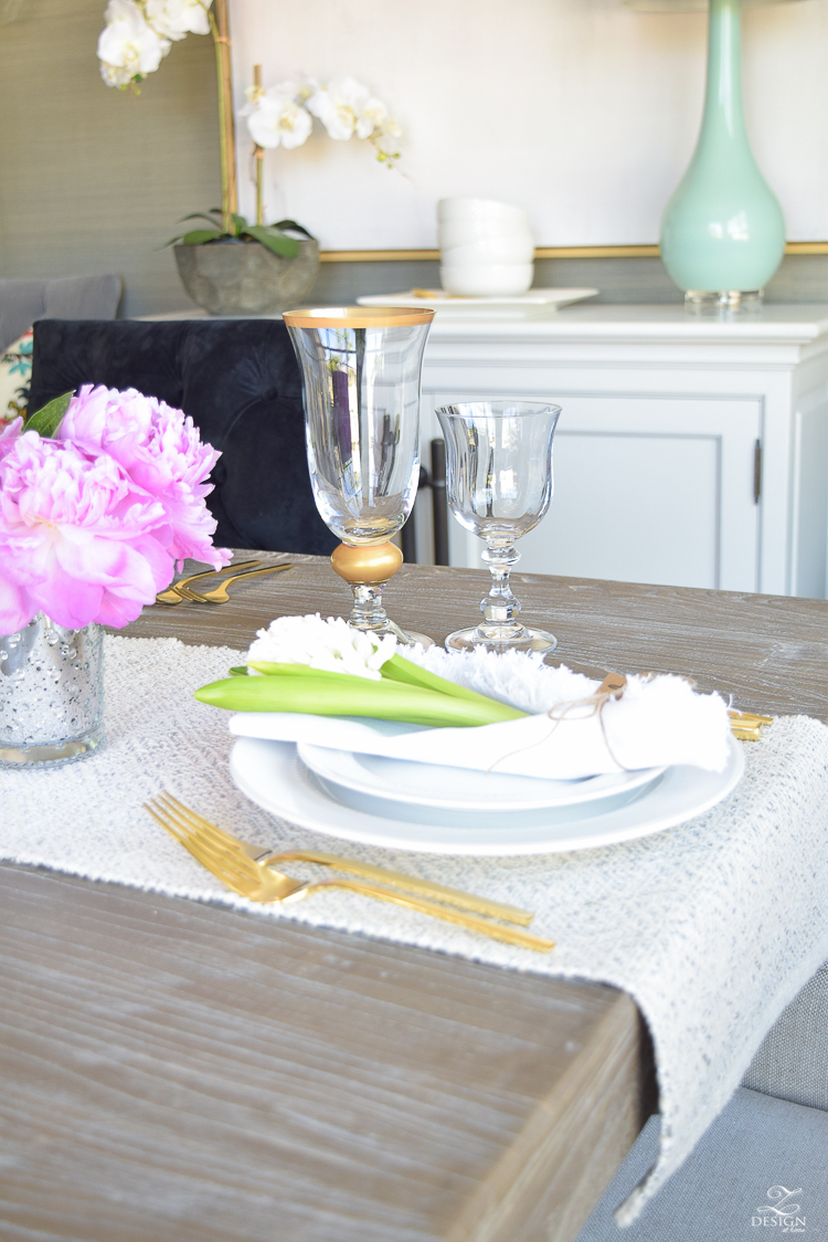 casual elegant mothers day table scape hyacinth alstromeria pink peonies-14