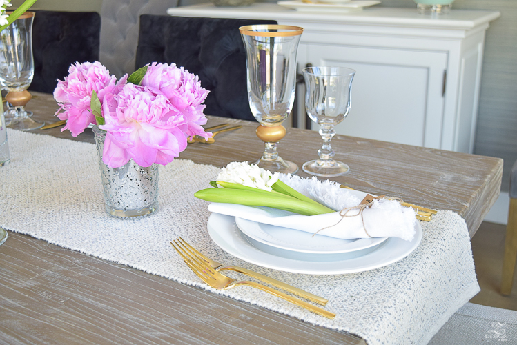 casual elegant mothers day table scape hyacinth alstromeria pink peonies-15