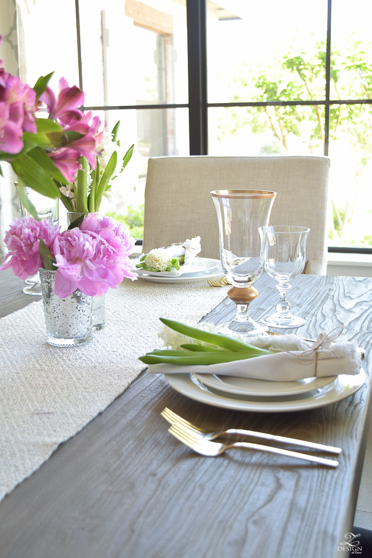 casual elegant mothers day table scape hyacinth alstromeria pink peonies-18