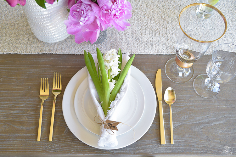 casual elegant mothers day table scape hyacinth alstromeria pink peonies-2
