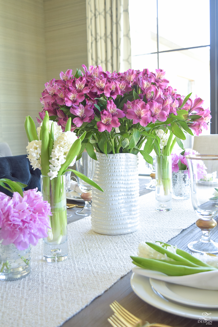 casual elegant mothers day table scape hyacinth alstromeria pink peonies-20