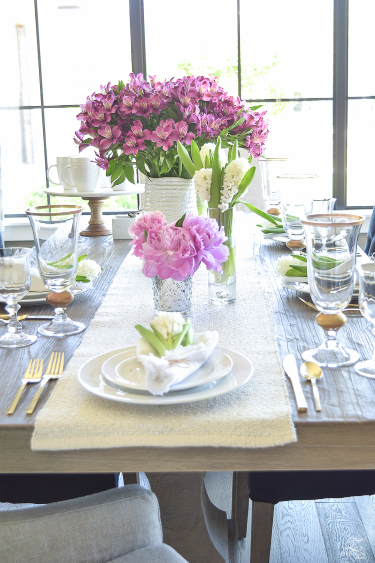 casual elegant mothers day table scape hyacinth alstromeria pink peonies-21