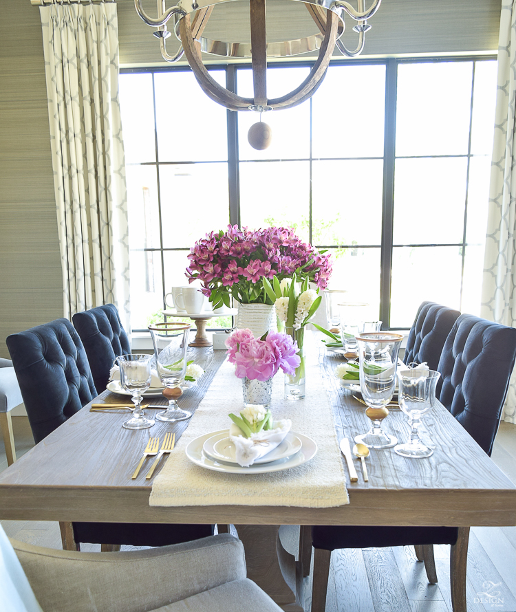 casual elegant mothers day table scape hyacinth alstromeria pink peonies-22