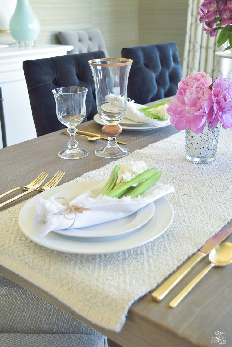 casual elegant mothers day table scape hyacinth alstromeria pink peonies-24