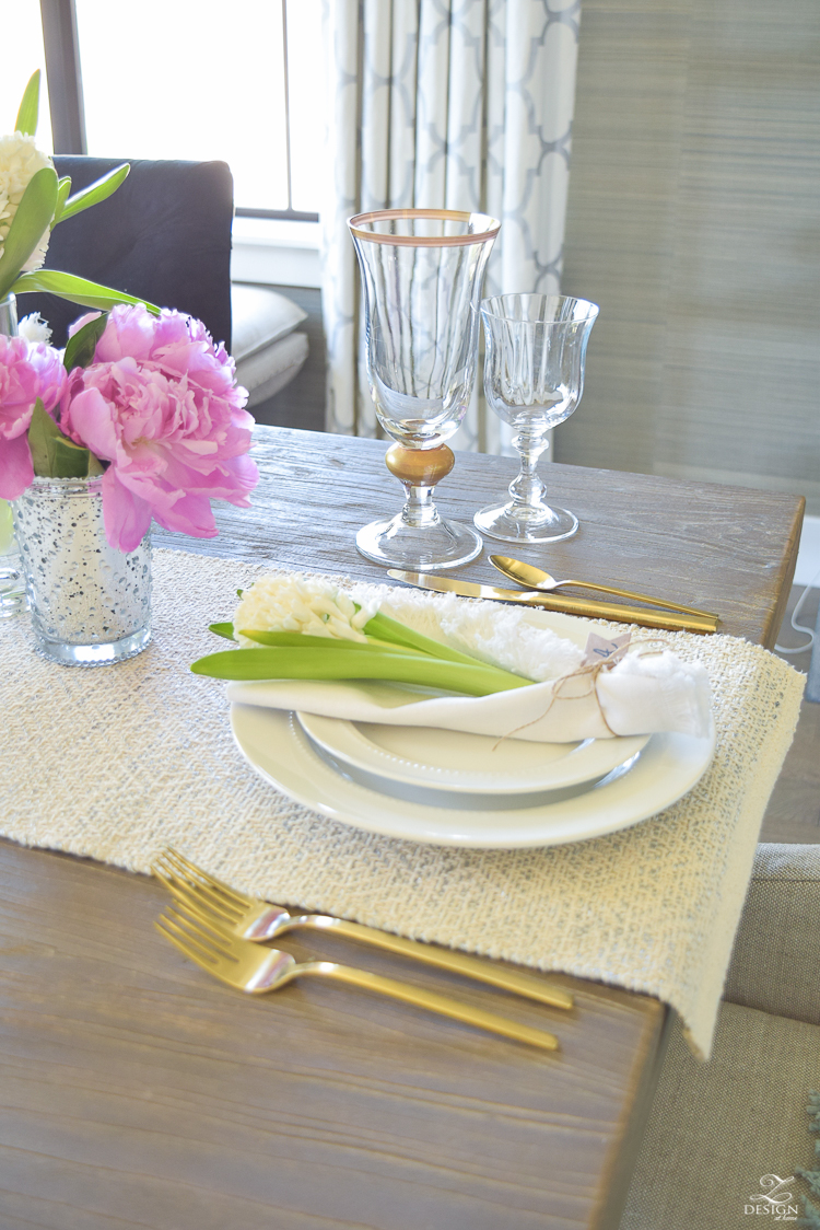 casual elegant mothers day table scape hyacinth alstromeria pink peonies-25