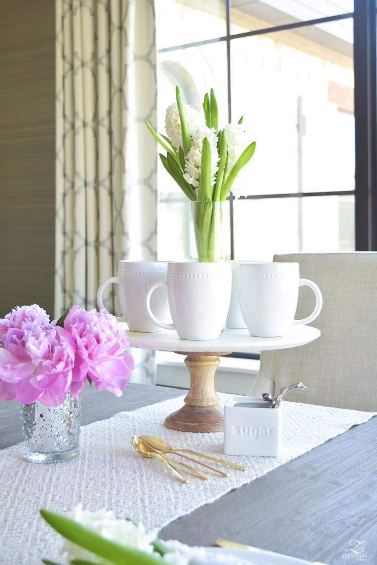 casual elegant mothers day table scape hyacinth alstromeria pink peonies-27