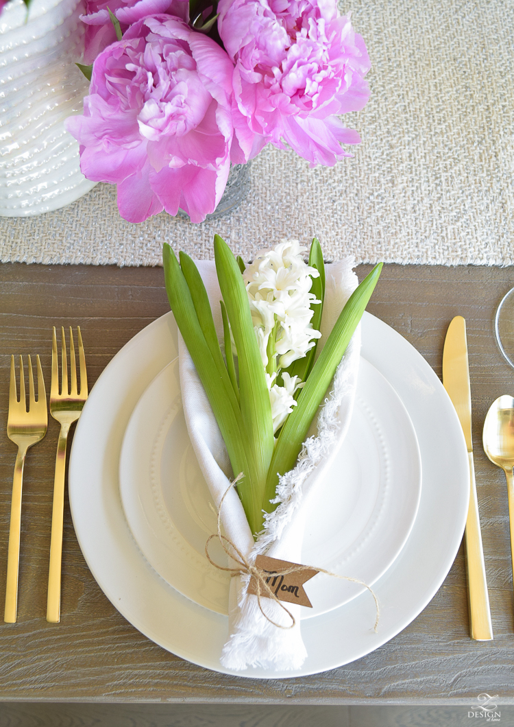 casual elegant mothers day table scape hyacinth alstromeria pink peonies-3