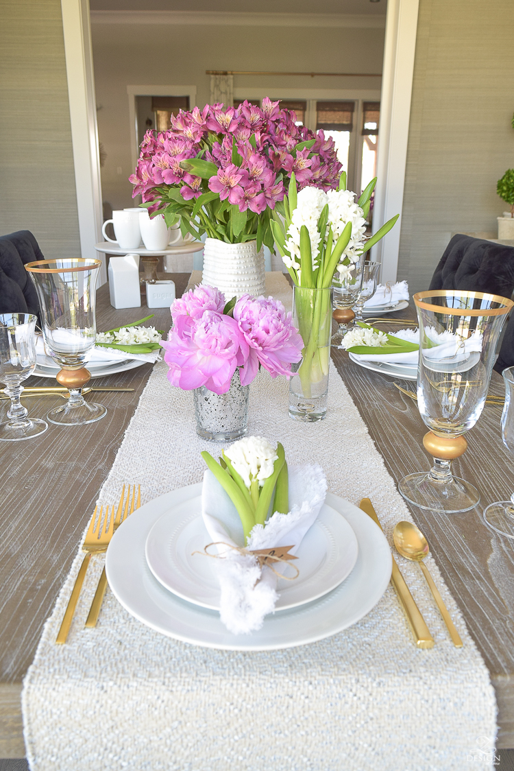 casual elegant mothers day table scape hyacinth alstromeria pink peonies-7