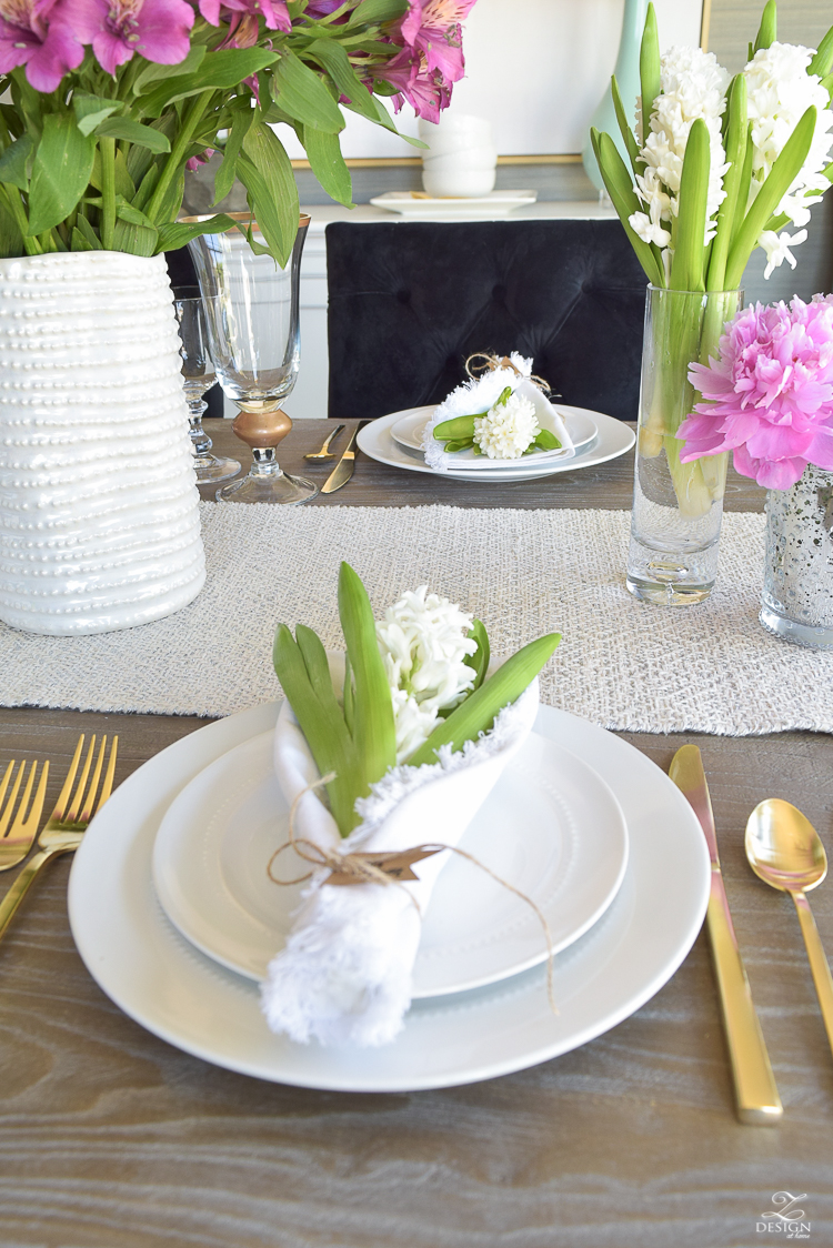 casual elegant mothers day table scape hyacinth alstromeria pink peonies-8