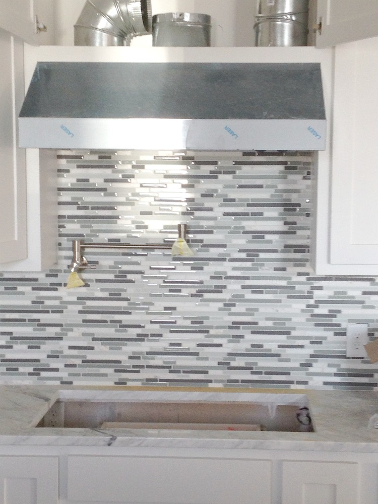 glass and marble mosaic tile kitchen backsplash