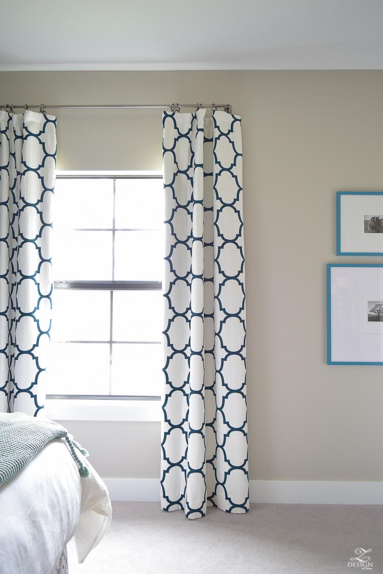 Navy-aqua bedroom with Kravet Riad Navy Curtains-1