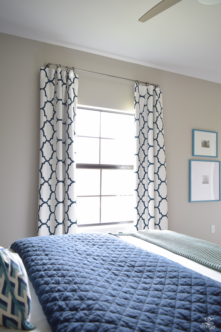 Navy-aqua bedroom with Kravet Riad Navy Curtains-2