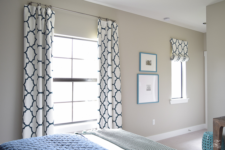 Navy-aqua bedroom with Kravet Riad Navy Curtains-3