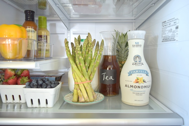 Organized Refrigerator After Chalk pitcher fruit crates