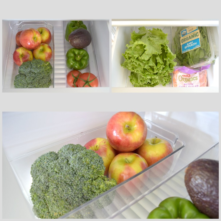 Organized Refrigerator fruit and veggie drawers InteriDesign Binz