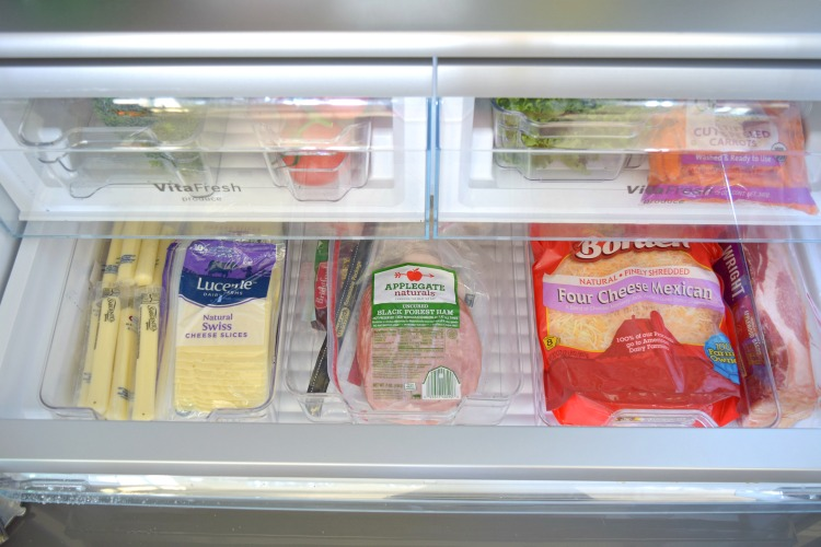 Organized refrigerator meat cheese drawer